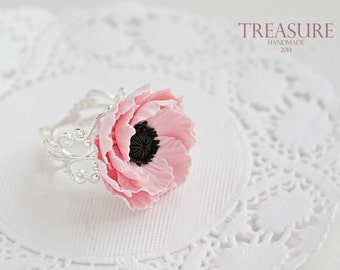 Adjustable floral ring anemone, soft pink flower, delicate, soft pink, floral ring, pink anemone, elegant ring, wedding jewelry, bridal,cute