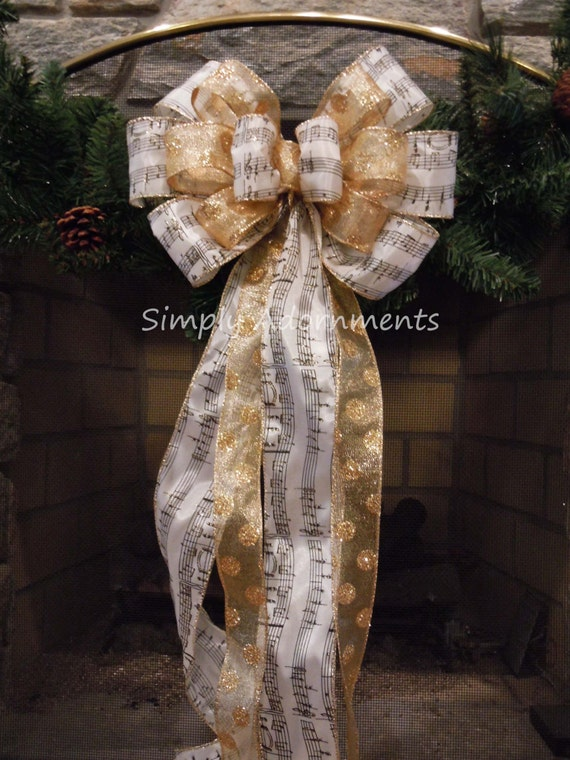 Ivory Gold Christmas Bow Music Sheet Topper Tree Bow Christmas Wreath Bow Gold Holly Berries Christmas Bow Xlarge Wreath Bow