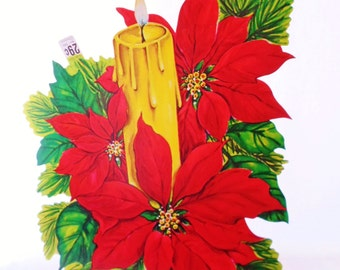 Vintage Christmas Die Cut Pointsettia, Candle, Cardboard Christmas Decoration, Carrington, Made In USA, Colorful, Holiday