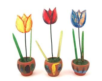 Tulips Spring Flowers, Colorful Tulips (set), Spring Decoration   , Ceramic Home Decoration, Handmade ceramic flowers, Housewares gift