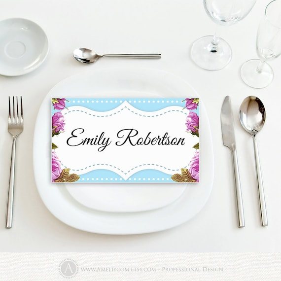 Printable wedding name tags place card instant download blue for Table name tags template printable
