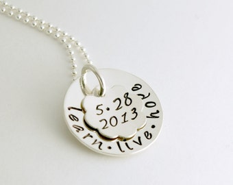 Sobriety Jewelry - Recovery Jewelry Learn Live Hope - Sobriety Anniversary Date Hand Stamped Necklace Sterling Silver