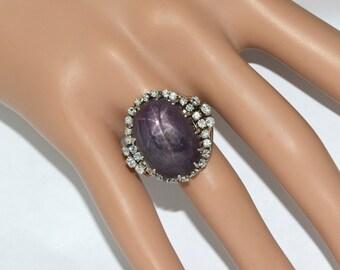 Vintage Purple Star Sapphire and Diamond Ring 30+ Carats!