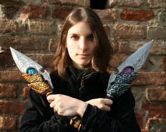 MADE TO ORDER - Twin ornate dagger silver gold fantasy larp weapon rogue magic assassin renaissance