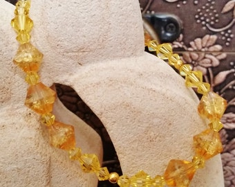 Topaz and Amber Bracelet, Summer, Sunny, Swarovski, Glass, Gold
