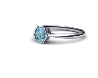 14K Gold Engagement Ring with Aquamarine Center