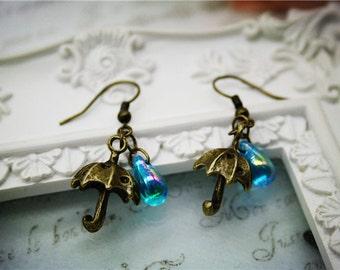 rainy day drop earrings cute umbrella rain drop craft romantic vintage bronze dangle jewellery accessory