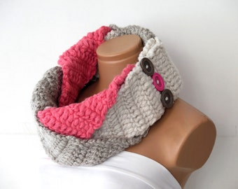The Plait Scarf ~ Hand Knit Scarf- Braided Necklace Infinity Cowl with Horn Toggle Button in Natural Oatmeal,vanilla,pink.