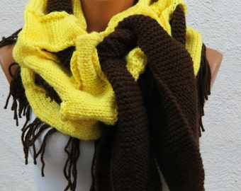 Mustard Infinity Scarf, Yellow Brown Chunky Scarf, Winter Cozy Cowl, SCARVES, Winter Accessories, Yellow Scarf Knit, Knitted Scarf Ripped