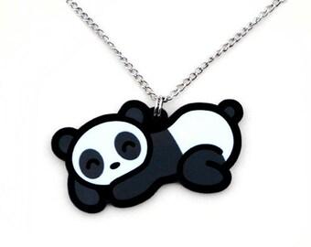 Sleeping Panda Necklace, Kawaii Cute Black and White Sleepy Bear Pendant