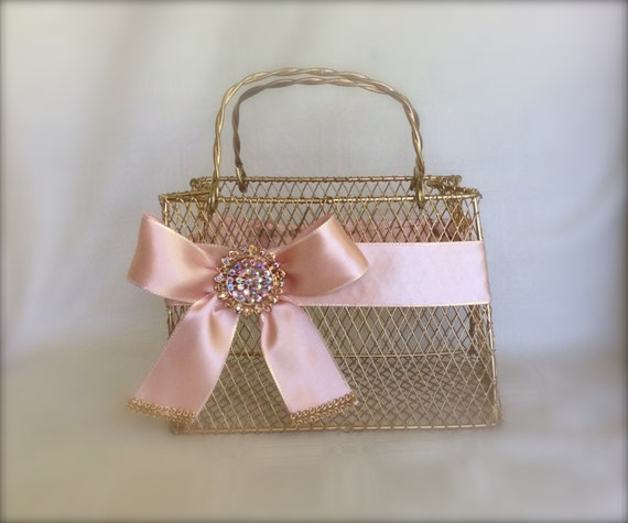 Flower Girl Basket Blush : Items similar to gold flower girl basket with blush ribbon