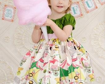 Circus Peasant Dress, Girl Peasant Top Dress, Multi Color, Girly Circus Top, Summer  Dress Custom Children sizes 12m,18m,2,3, 4, 5, 6, 7, 8