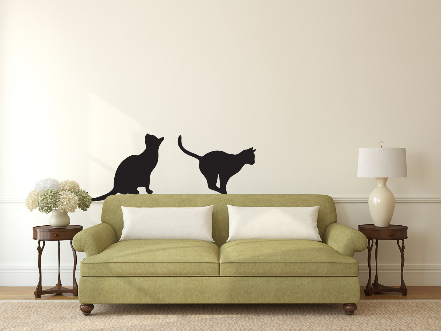 Cats Sitting Pouncing Wall Decal Custom Vinyl Art Stickers - Custom vinyl wall decals cats