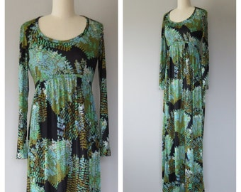 70s floral maxi dress size xs - small / vintage maxi dress