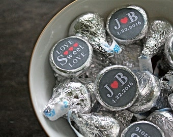 """Wedding candy labels, personalized.  3/4"""" round stickers, set of 108, monogram and date. Chalkboard style print. Hershey Kiss stickers."""