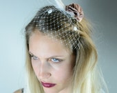 Wedding Flower Headpiece , Hair accessory with feather ,  Flower With Veil,  Floral Headpiece