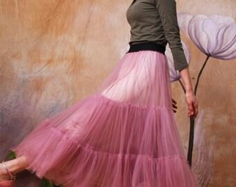 tulle skirt long  tutu skirt lolita skirt maxi skirt wedding  skirt princess tulle skirt in color pink