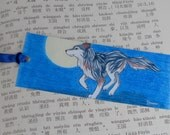 bookmark wolf running and full moon - forest animal illustration - dog drawing - art