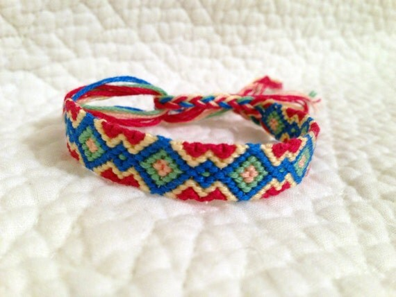 items similar to friendship bracelet diamond pattern on etsy. Black Bedroom Furniture Sets. Home Design Ideas