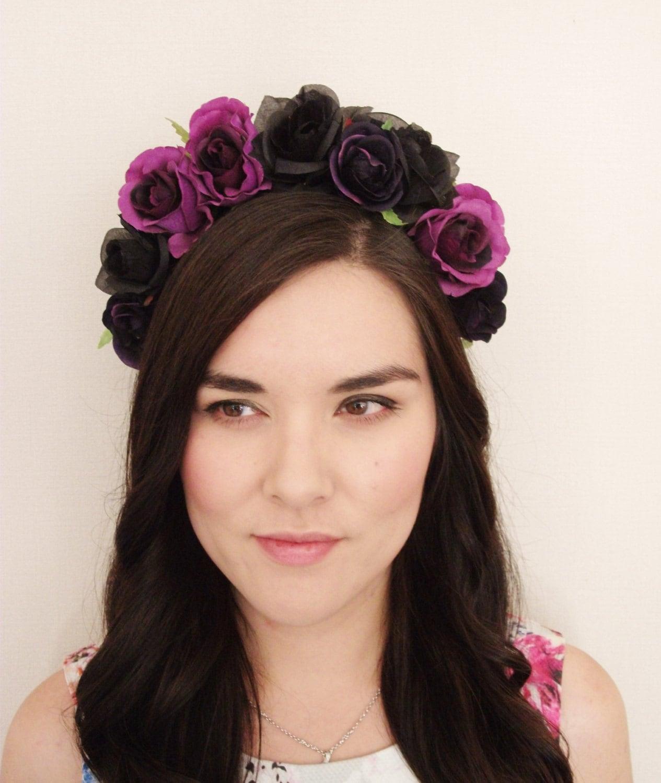Flower Crown Purple: Purple And Black Rose Flower Crown Floral By MissWildFlowers