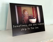 "Art Notecard Adventures of Claudia Antique Porcelain Doll ""Sometimes She Did Indeed Skip To The Loo"" Typographic Card Toilet Humor"