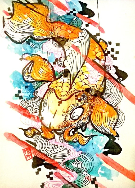 Koi fish art japanese koi fish art print by artofprincessm for Koi fish japanese art