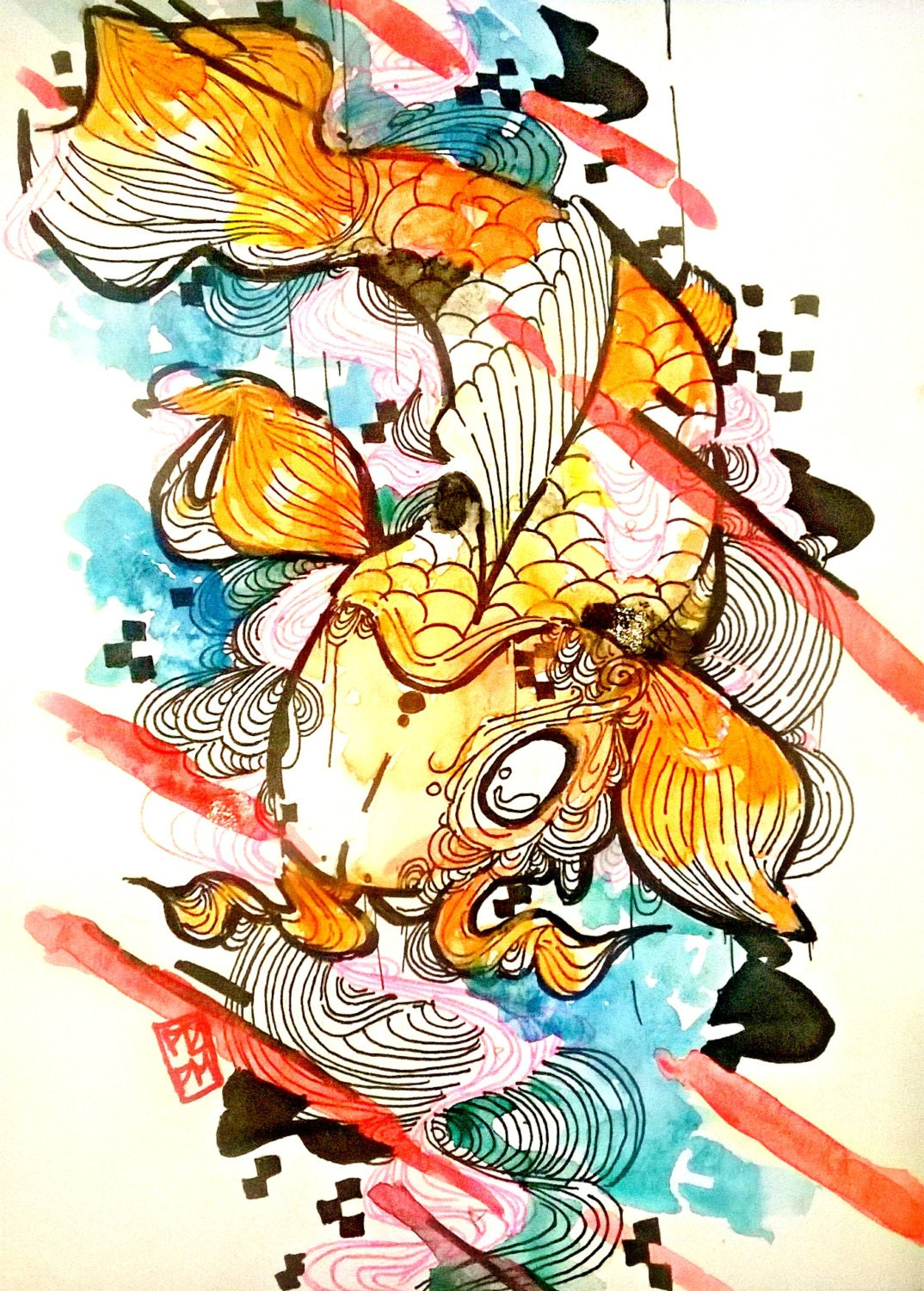 Koi fish art japanese koi fish art print by artofprincessm for Koi fish paintings prints