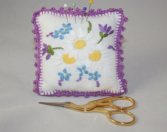 Embroidered and crocheted pincushion - up-cycled/recycled and embroidered vintage embroidery re-stitched by Lynwoodcrafts