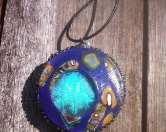 Real Morpho Butterfly Wing Pendant, Set in Polymer Clay