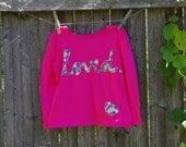 Flowery Loved Girls T shirt Valentine