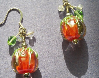 Glass Pumpkin Dangle Earrings for Halloween, Fall, Thanksgiving