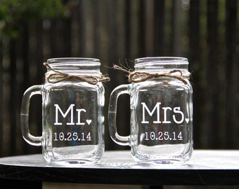 2 Mason Jar Mugs - Personalized Customized Mason Jar