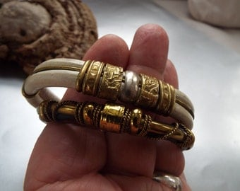 2 vintage brass leather bangle bracelets flexible