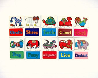 Vintage 1960s Educational Word and Picture Puzzle Game