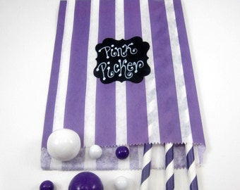 24- 5X7  Purple & White Striped  Bags, Treat Bags, Favors, Candy Buffet, Wedding