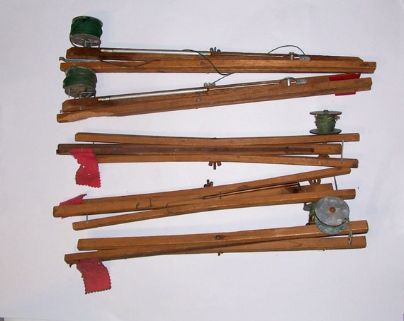 Vintage ice fishing tip ups red flag wood metal five pieces for Best ice fishing tip ups