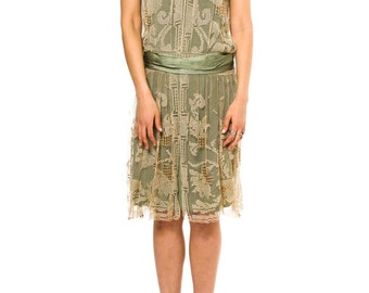 1920s Vintage Beautiful Hand Made Lace Dress  Size: XS/S