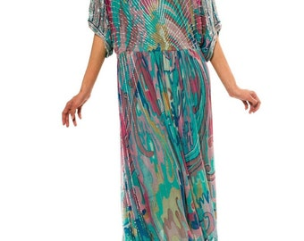 1970s Multi-Colored Beaded Silk Boho Dress Sz. S/M/L