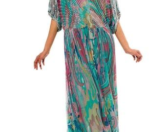 JOLIE- 1970s Multi-Colored Beaded Silk Boho Dress Sz. S/M/L