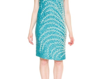 1960s Vintage Refined Vibrant Turquoise Knit Beaded Dress  Size: S/M