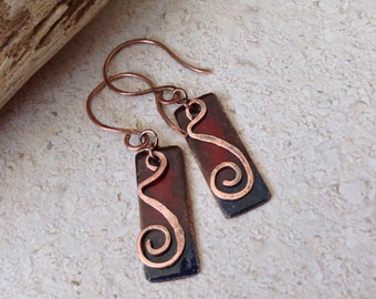 Rustic Pizzazz - Copper Enameled Earrings