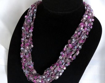 Blueberry Parfait Glitter Crochet Ladder Yarn Necklace - Light Blue, Fuchsia and Silver Sparkle