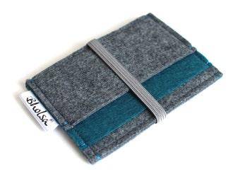 Card Organizer/ Card Wallet/ Coin Wallet/ Small Wallet/ Card Wallet Organizer/ Small wallet-Charcoal Grey & Blue Petroleum-Grey Elastic Band