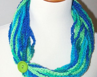 Crochet Neck Warmer- Necklace- Cowl- Infinity Scarf- Blue and Green