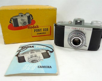 Vintage Kodak Pony 828 Camera in Original Box with Manual