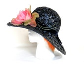 Large Navy Blue Straw Hat with Pink Fabric Begonia Flower