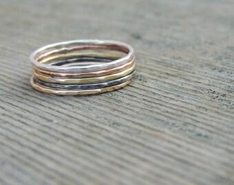 Five Stacking Ring Set- Stacking Ring Set, Mixed Metal Ring Set, Colorful Stacking Rings, Midi Ring Set, Knuckle Ring Set, Pink Ring Set