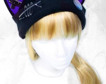 Cat Kitty Fleece Hat  Anime Cosplay Punk JRock  (Dark Purple Ears with Zippers Ears)