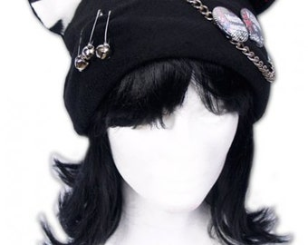 Cat Kitty Fleece Hat  Anime Cosplay Punk JRock  (Tiger Red/White Ears)
