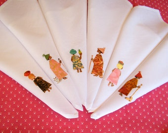 African theme, embroidered napkins,  hand stitched textile art on cotton serviettes,  set of 6 napkins